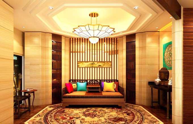地毯装饰于中式风格雅居物尽其华灼灼溢彩