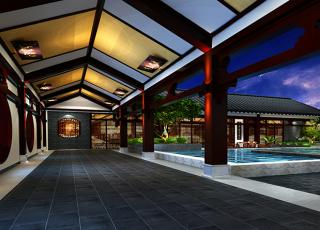 新中式空中四合院会所装修案例--古人般闲雅的生活情致