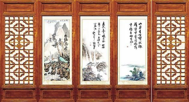 中式装修设计家居古典屏风国画的古色雅韵