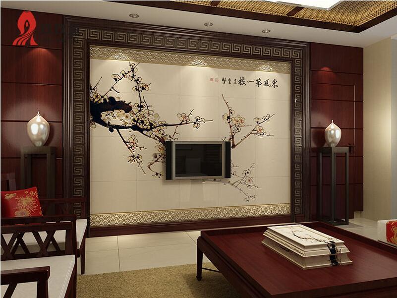 中式背景墙 紫云轩