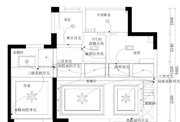 中式装修住宅空间如何排布开关更为合理