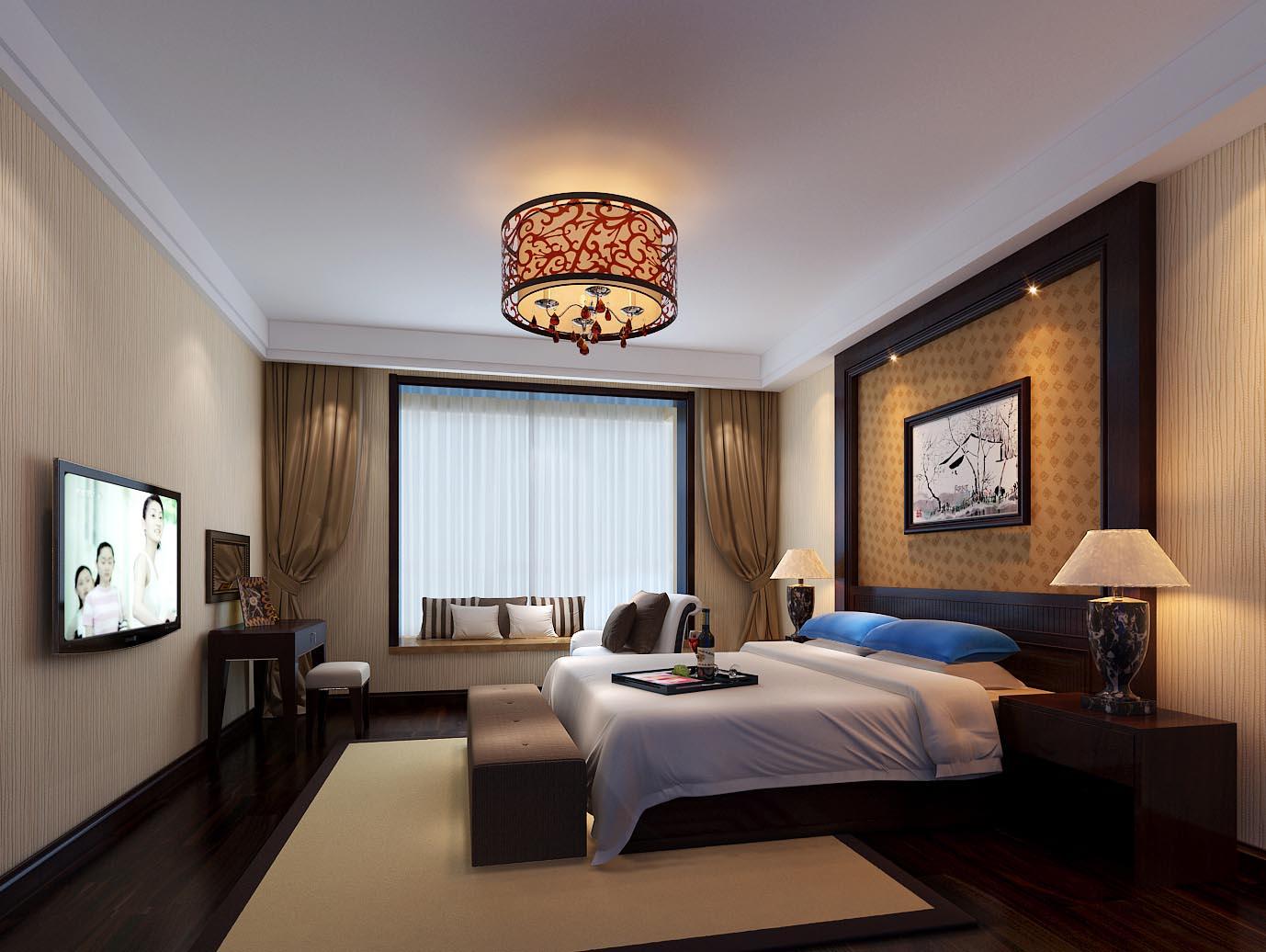 中式古典三居室卧室榻榻米装修效果图