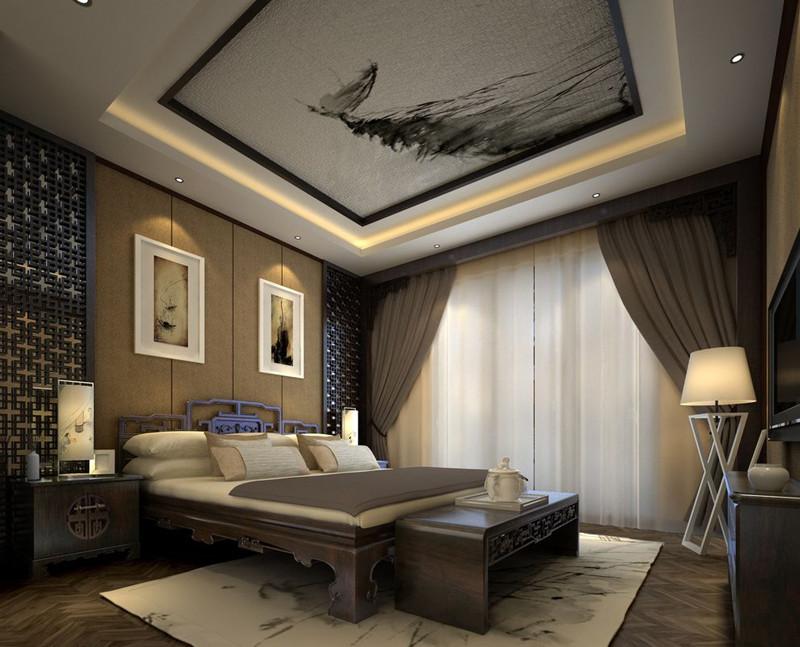 中式装修卧室窗帘