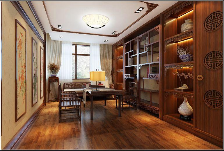 中式装修书房窗帘