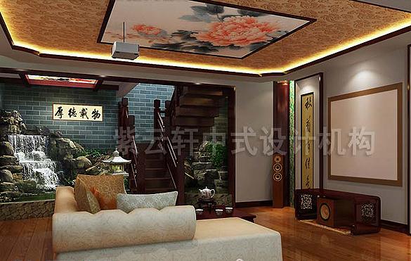 中式平层古典别墅效果图
